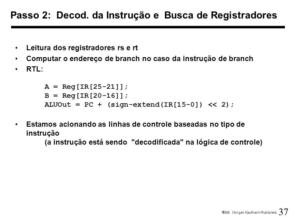 37 1998 Morgan Kaufmann Publishers Leitura dos registradores rs e rt Computar o endereço de branch no caso da instrução de branch RTL: A = Reg[IR[25-2