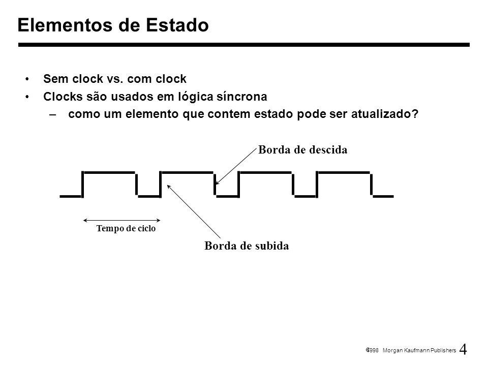 4 1998 Morgan Kaufmann Publishers Sem clock vs. com clock Clocks são usados em lógica síncrona – como um elemento que contem estado pode ser atualizad