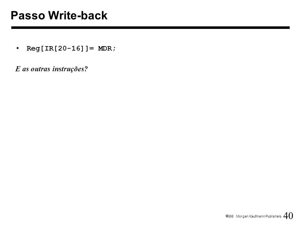 40 1998 Morgan Kaufmann Publishers Reg[IR[20-16]]= MDR; E as outras instruções? Passo Write-back