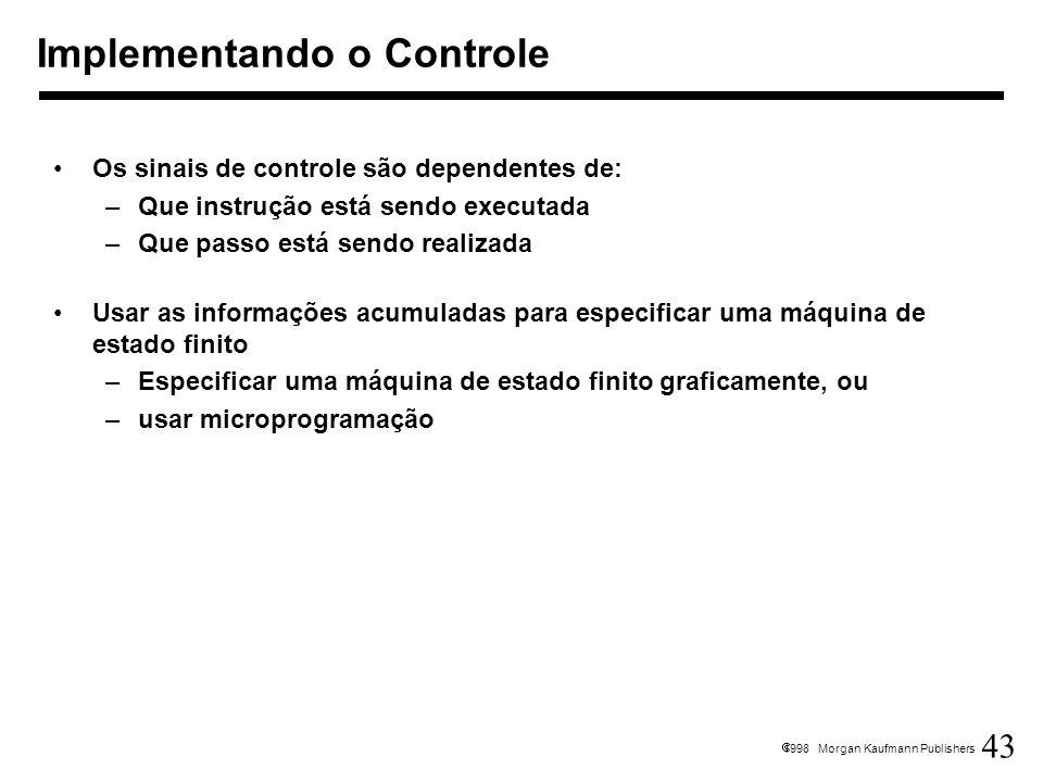 43 1998 Morgan Kaufmann Publishers Os sinais de controle são dependentes de: –Que instrução está sendo executada –Que passo está sendo realizada Usar