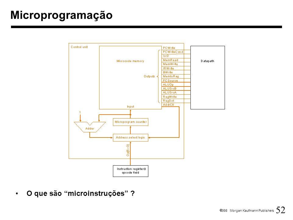 52 1998 Morgan Kaufmann Publishers Microprogramação O que são microinstruções ?
