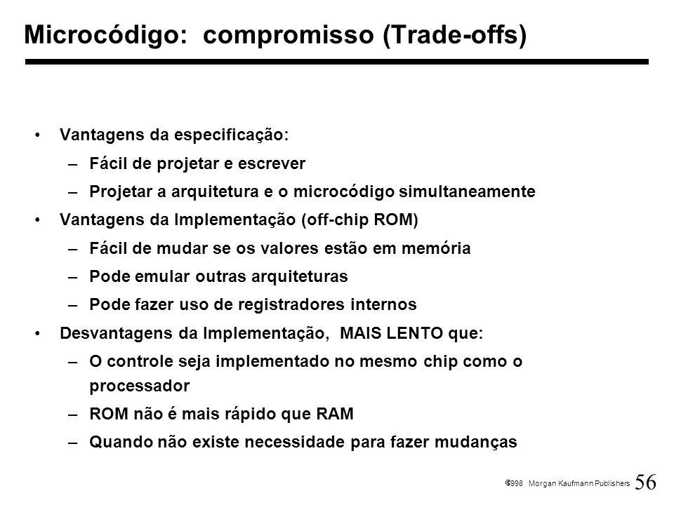 56 1998 Morgan Kaufmann Publishers Microcódigo: compromisso (Trade-offs) Vantagens da especificação: –Fácil de projetar e escrever –Projetar a arquite