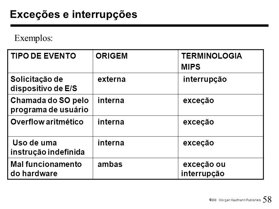 58 1998 Morgan Kaufmann Publishers Exceções e interrupções TIPO DE EVENTOORIGEMTERMINOLOGIA MIPS Solicitação de dispositivo de E/S externa interrupção