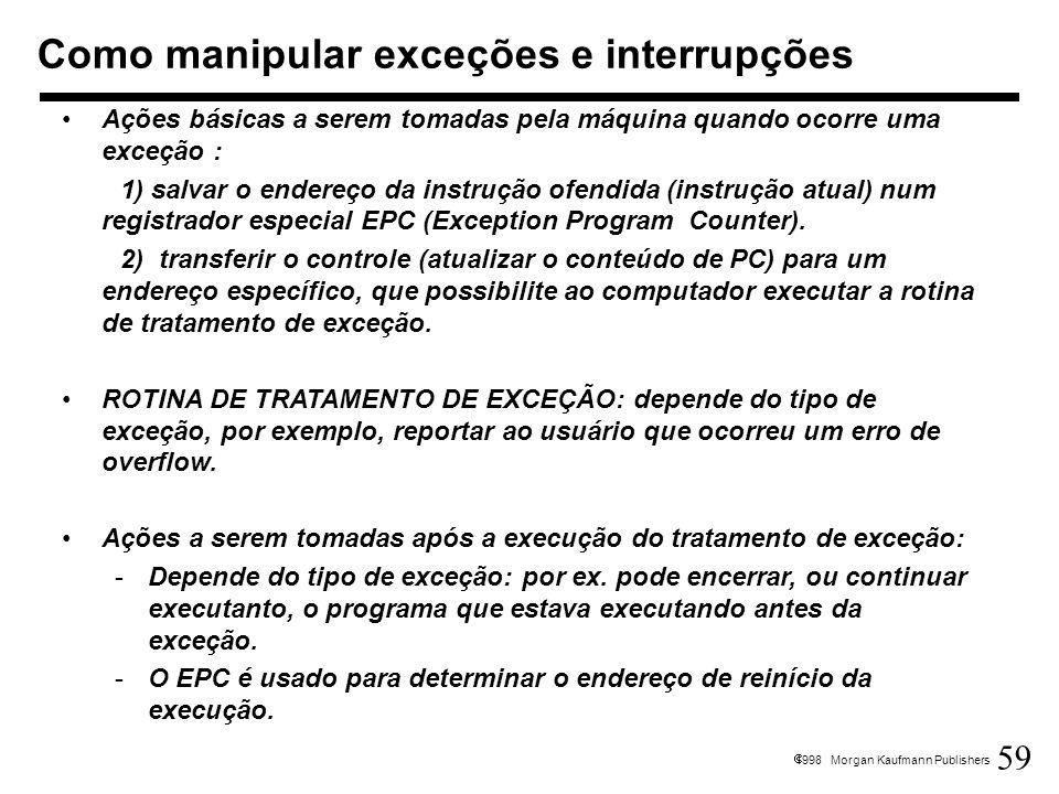 59 1998 Morgan Kaufmann Publishers Como manipular exceções e interrupções Ações básicas a serem tomadas pela máquina quando ocorre uma exceção : 1) sa