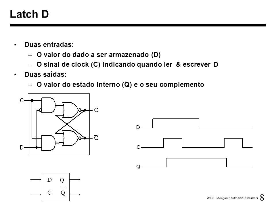 8 1998 Morgan Kaufmann Publishers Duas entradas: –O valor do dado a ser armazenado (D) –O sinal de clock (C) indicando quando ler & escrever D Duas sa
