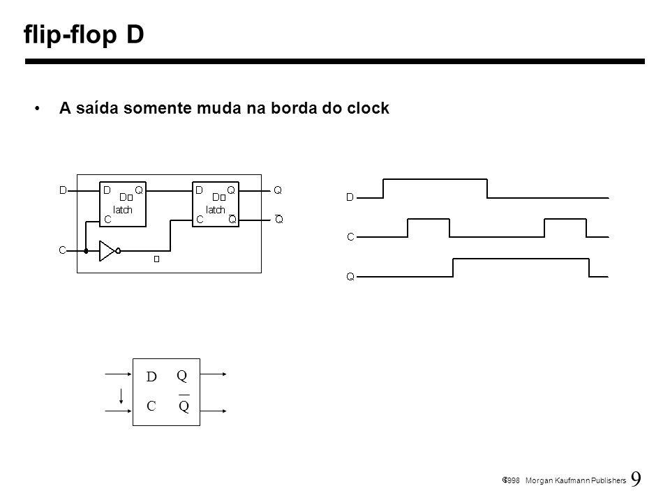 9 1998 Morgan Kaufmann Publishers flip-flop D A saída somente muda na borda do clock D C Q Q
