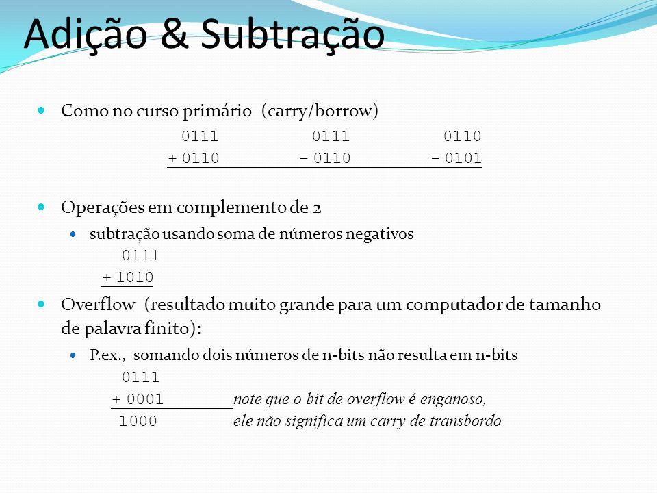 Como no curso primário (carry/borrow) 0111 0111 0110 + 0110- 0110- 0101 Operações em complemento de 2 subtração usando soma de números negativos 0111