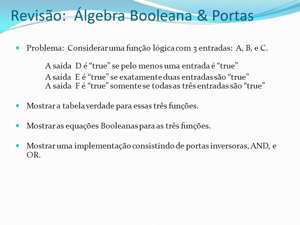 Problema: Considerar uma função lógica com 3 entradas: A, B, e C. A saída D é true se pelo menos uma entrada é true A saída E é true se exatamente dua