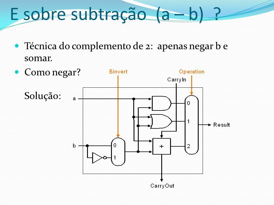 Técnica do complemento de 2: apenas negar b e somar. Como negar? Solução: E sobre subtração (a – b) ?