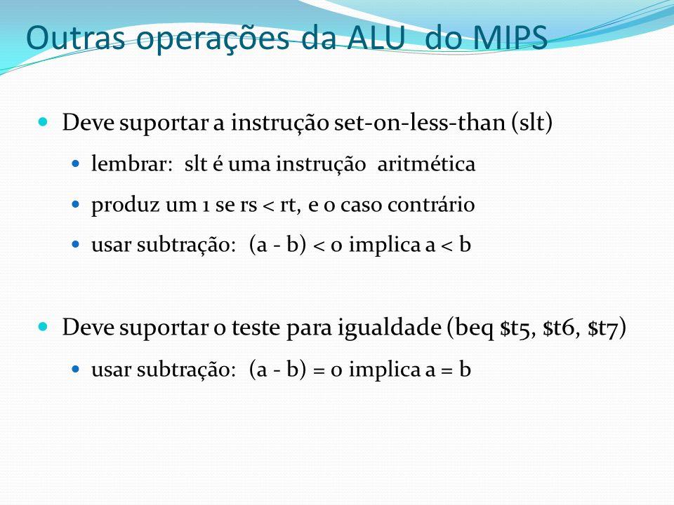 Deve suportar a instrução set-on-less-than (slt) lembrar: slt é uma instrução aritmética produz um 1 se rs < rt, e 0 caso contrário usar subtração: (a