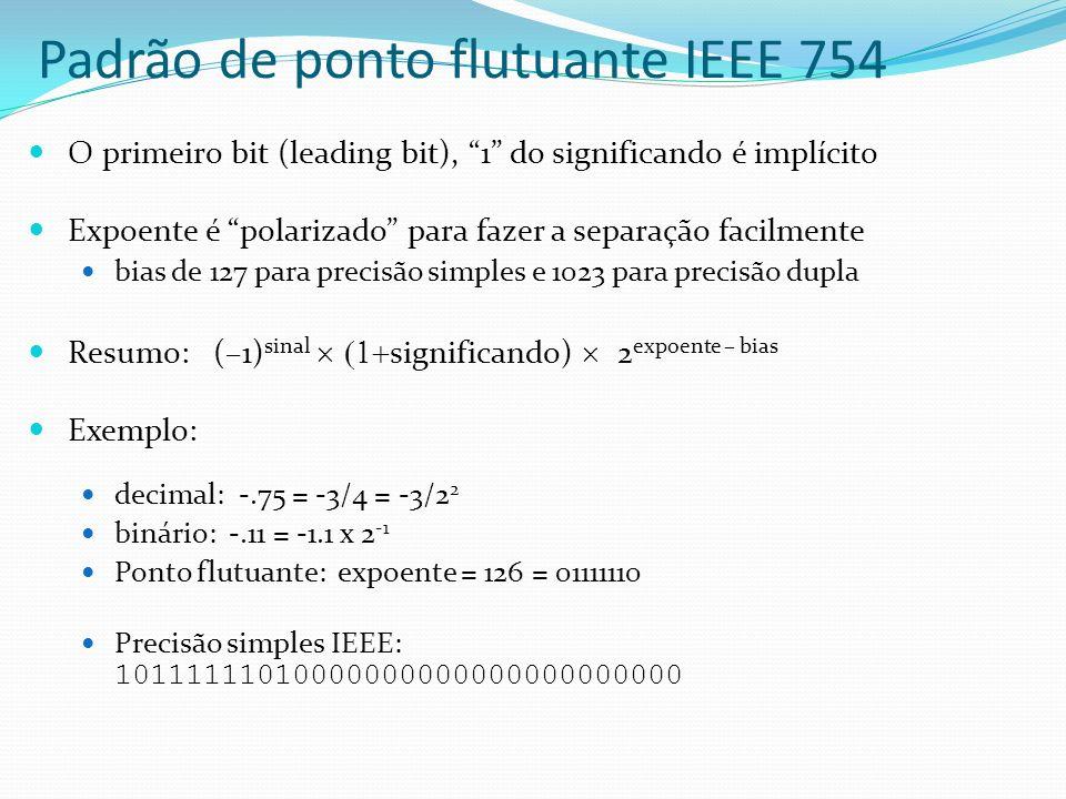 Padrão de ponto flutuante IEEE 754 O primeiro bit (leading bit), 1 do significando é implícito Expoente é polarizado para fazer a separação facilmente