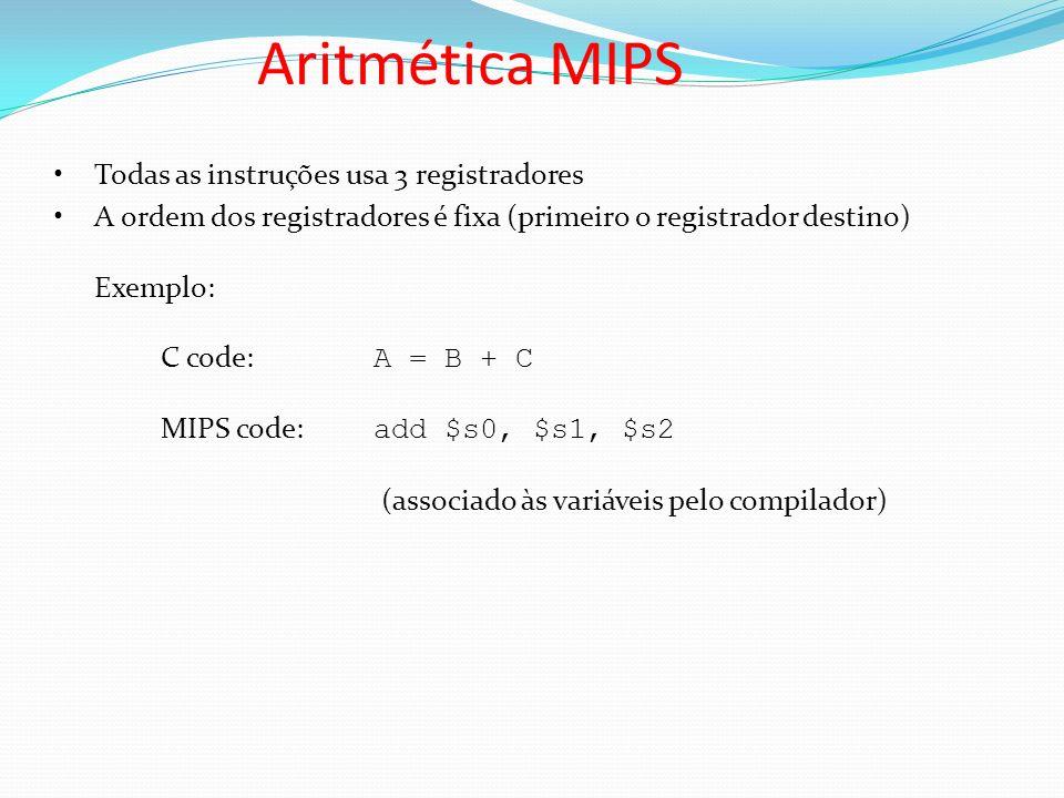 Aritmética MIPS Todas as instruções usa 3 registradores A ordem dos registradores é fixa (primeiro o registrador destino) Exemplo: C code: A = B + C M