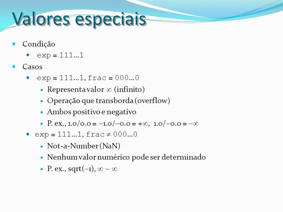 Valores especiais Condição exp = 111 … 1 Casos exp = 111 … 1, frac = 000 … 0 Representa valor (infinito) Operação que transborda (overflow) Ambos posi