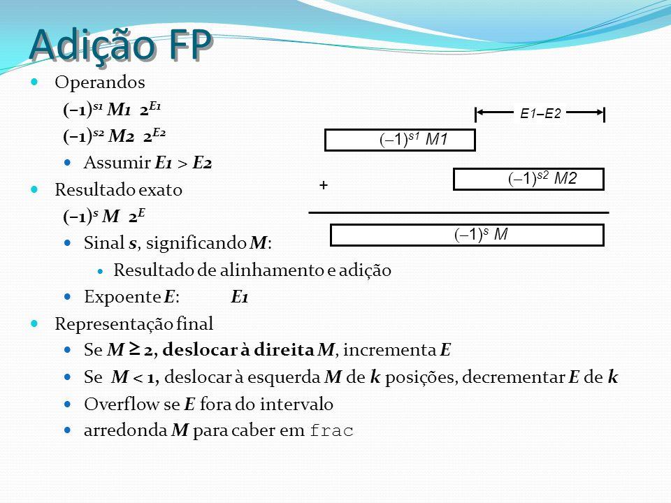Adição FP Operandos ( –1) s1 M1 2 E1 ( –1) s2 M2 2 E2 Assumir E1 > E2 Resultado exato ( –1) s M 2 E Sinal s, significando M: Resultado de alinhamento