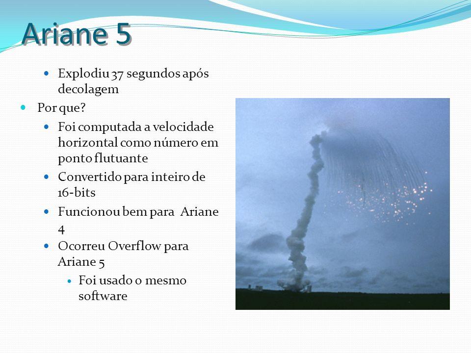 Ariane 5 Explodiu 37 segundos após decolagem Por que? Foi computada a velocidade horizontal como número em ponto flutuante Convertido para inteiro de
