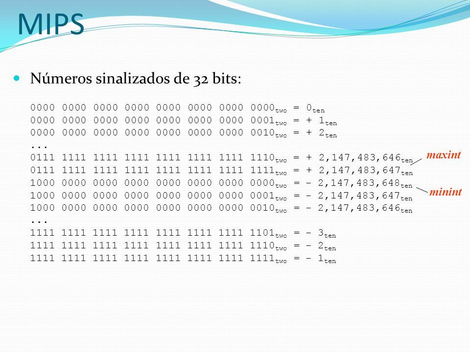 Negar um número em complemento de 2: inverter todos os bits e somar 1 lembrança: negar e inverter são diferentes.