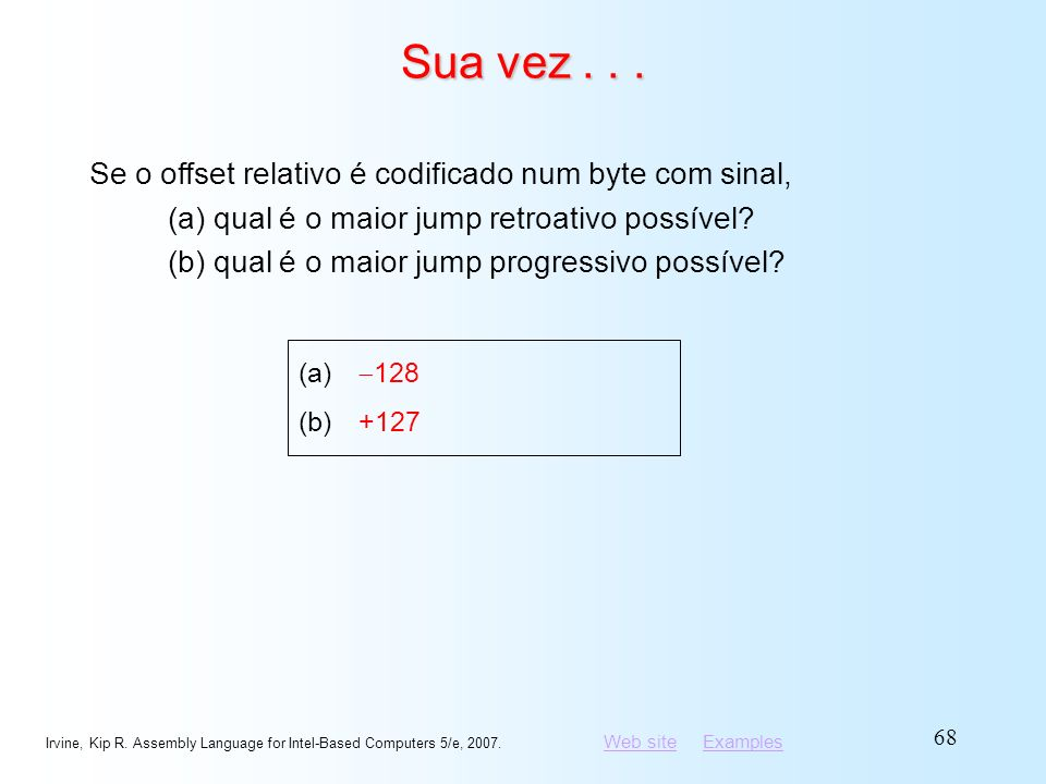 Web siteWeb site ExamplesExamples Irvine, Kip R. Assembly Language for Intel-Based Computers 5/e, 2007. 68 Sua vez... Se o offset relativo é codificad