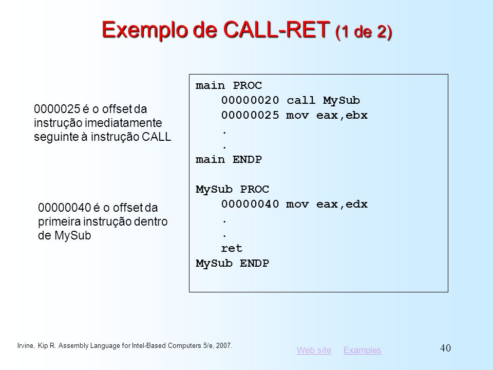 Web siteWeb site ExamplesExamples Irvine, Kip R. Assembly Language for Intel-Based Computers 5/e, 2007. 40 Exemplo de CALL-RET (1 de 2) main PROC 0000