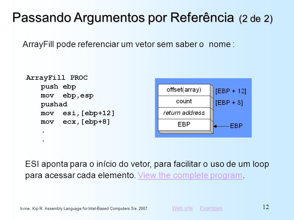 Web siteWeb site ExamplesExamples Irvine, Kip R. Assembly Language for Intel-Based Computers 5/e, 2007. 12 Passando Argumentos por Referência (2 de 2)