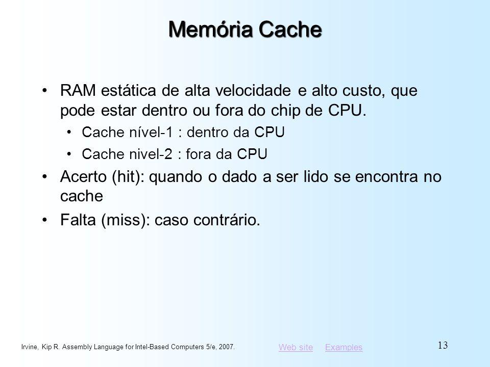 Web siteWeb site ExamplesExamples Memória Cache RAM estática de alta velocidade e alto custo, que pode estar dentro ou fora do chip de CPU. Cache níve