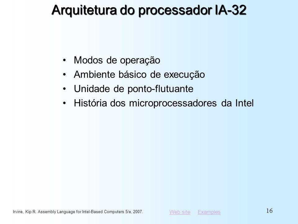Web siteWeb site ExamplesExamples Arquitetura do processador IA-32 Modos de operação Ambiente básico de execução Unidade de ponto-flutuante História d