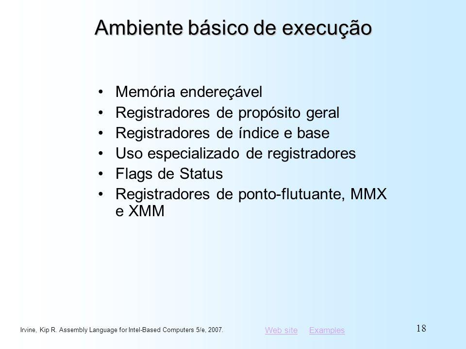 Web siteWeb site ExamplesExamples Ambiente básico de execução Memória endereçável Registradores de propósito geral Registradores de índice e base Uso