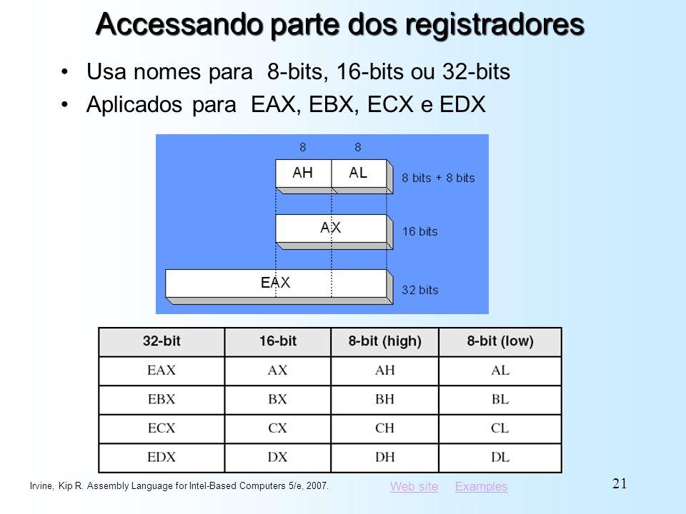 Web siteWeb site ExamplesExamples Accessando parte dos registradores Usa nomes para 8-bits, 16-bits ou 32-bits Aplicados para EAX, EBX, ECX e EDX Irvi