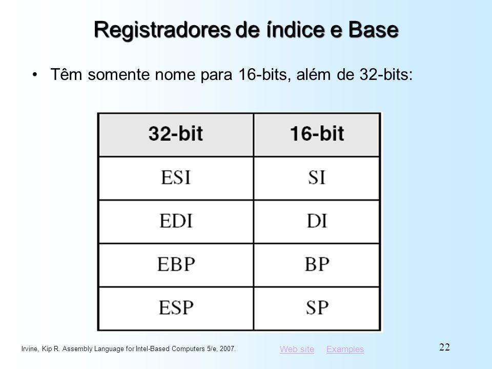 Web siteWeb site ExamplesExamples Registradores de índice e Base Têm somente nome para 16-bits, além de 32-bits: Irvine, Kip R. Assembly Language for