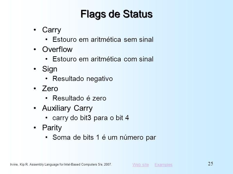 Web siteWeb site ExamplesExamples Flags de Status Carry Estouro em aritmética sem sinal Overflow Estouro em aritmética com sinal Sign Resultado negati