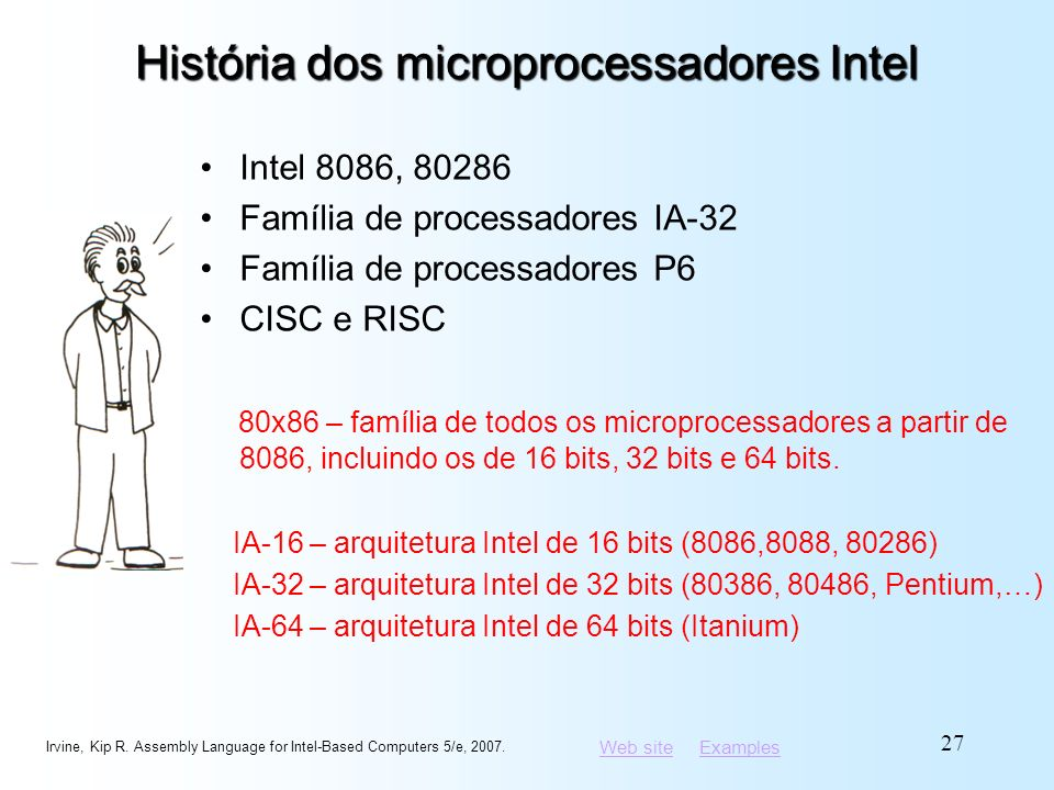 Web siteWeb site ExamplesExamples História dos microprocessadores Intel Intel 8086, 80286 Família de processadores IA-32 Família de processadores P6 C