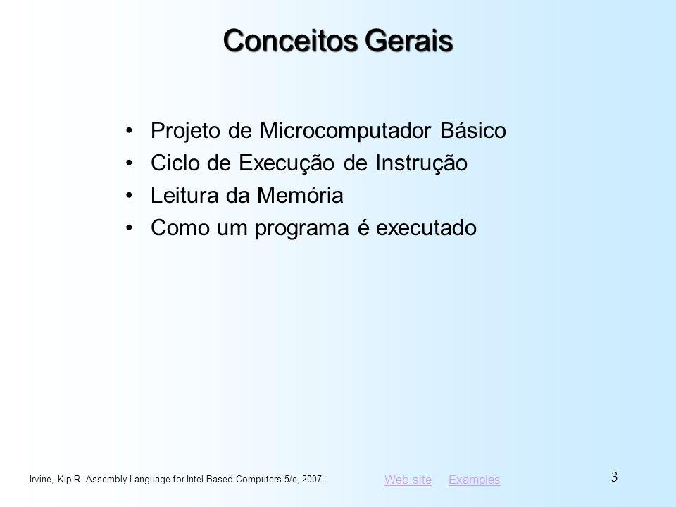 Web siteWeb site ExamplesExamples Projeto de Microcomputador Básico As operações de CPU são sincronizadas pelo clock A unidade de controle (CU) coordena os passos da seqüência de execução ALU realiza o processamento aritmético e lógico Irvine, Kip R.