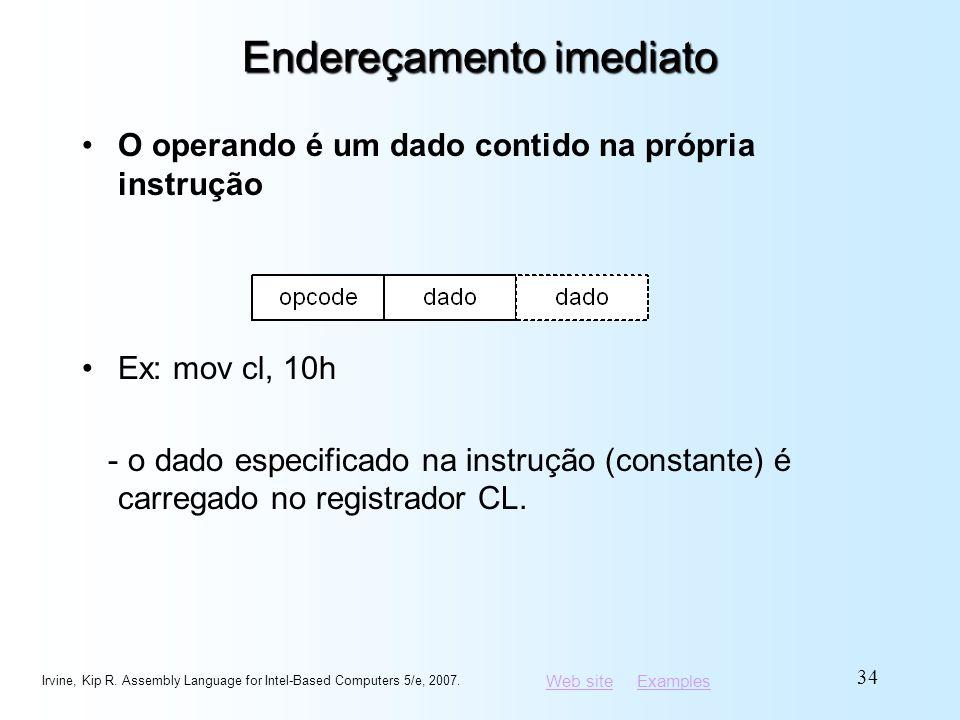 Web siteWeb site ExamplesExamples Endereçamento imediato O operando é um dado contido na própria instrução Ex: mov cl, 10h - o dado especificado na in