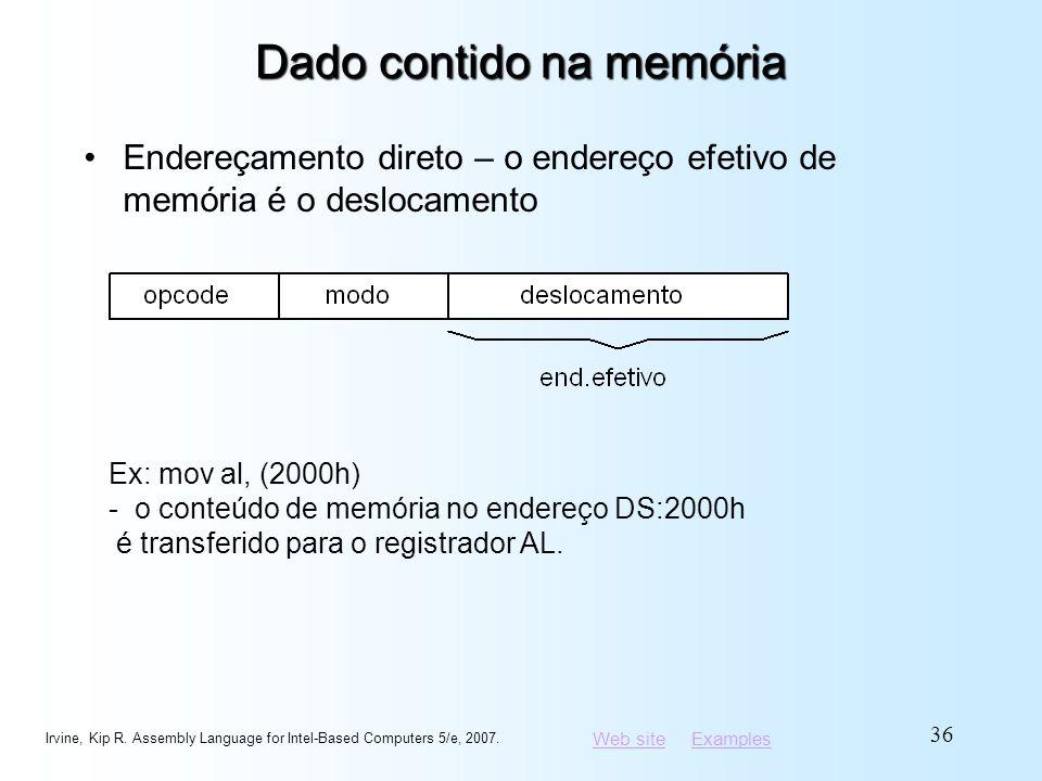 Web siteWeb site ExamplesExamples Dado contido na memória Endereçamento direto – o endereço efetivo de memória é o deslocamento Irvine, Kip R. Assembl