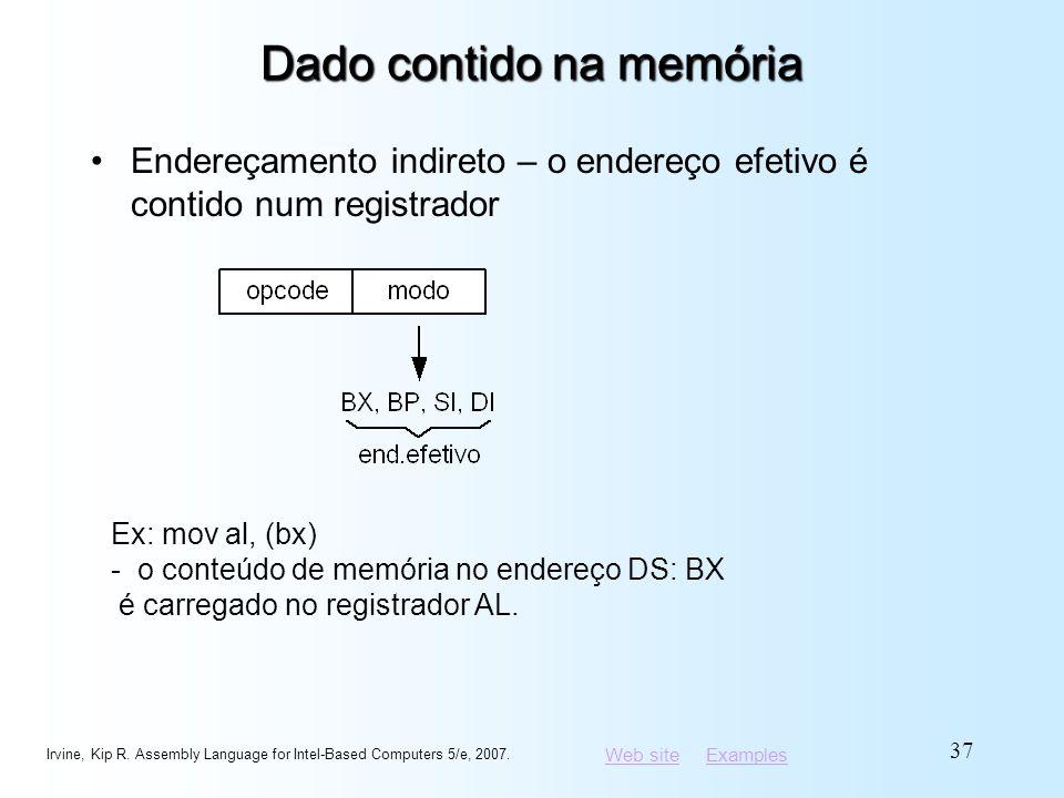Web siteWeb site ExamplesExamples Dado contido na memória Endereçamento indireto – o endereço efetivo é contido num registrador Irvine, Kip R. Assembl