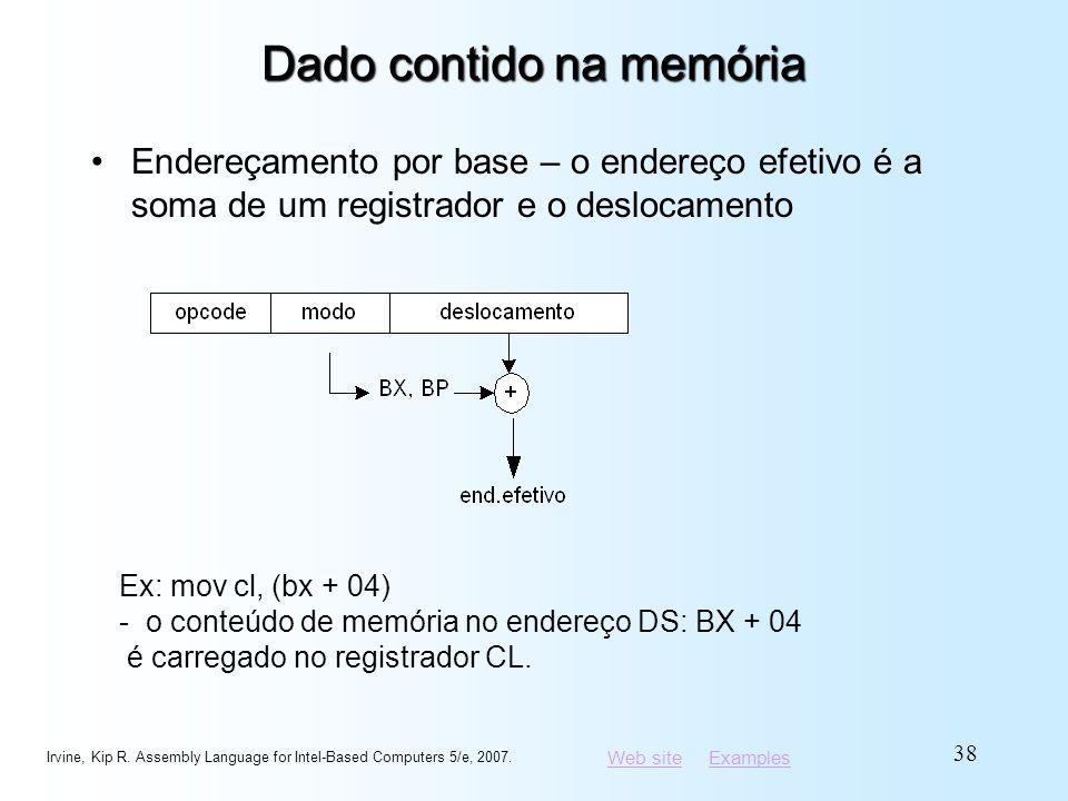 Web siteWeb site ExamplesExamples Dado contido na memória Endereçamento por base – o endereço efetivo é a soma de um registrador e o deslocamento Irvi