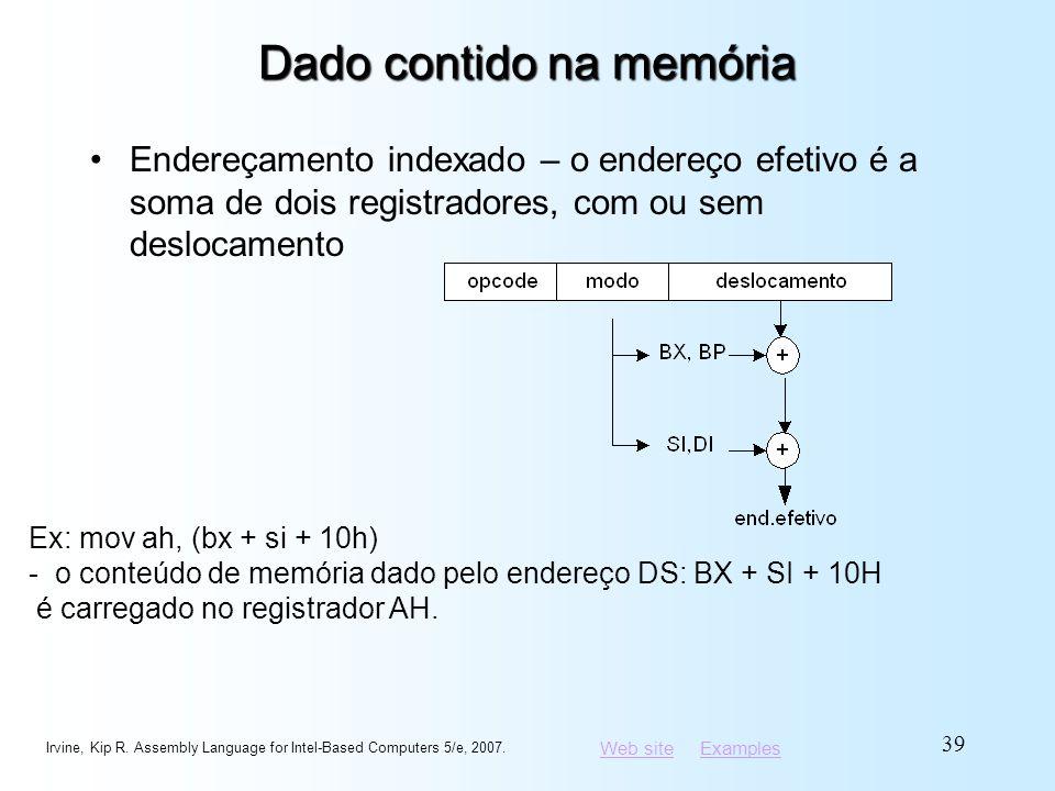 Web siteWeb site ExamplesExamples Dado contido na memória Endereçamento indexado – o endereço efetivo é a soma de dois registradores, com ou sem deslo