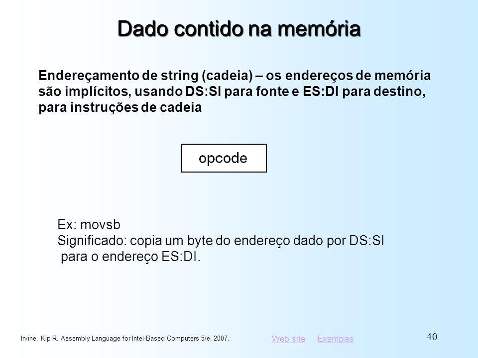 Web siteWeb site ExamplesExamples Dado contido na memória Irvine, Kip R. Assembly Language for Intel-Based Computers 5/e, 2007. 40 Endereçamento de st