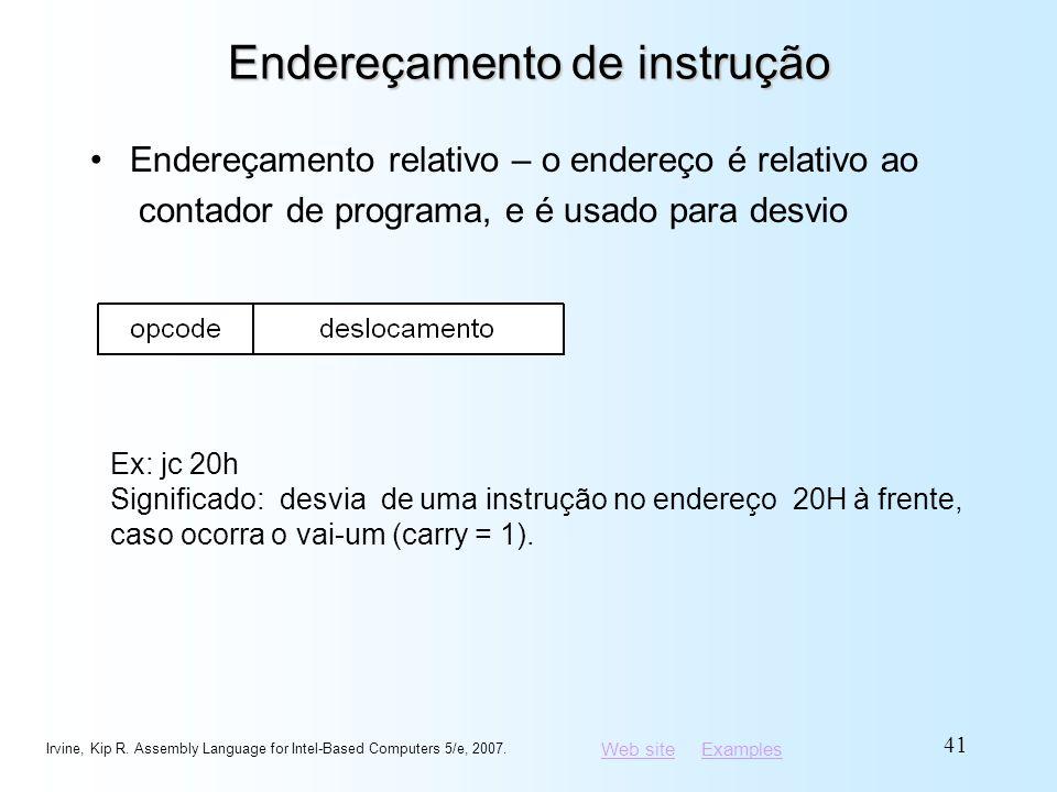 Web siteWeb site ExamplesExamples Endereçamento de instrução Endereçamento relativo – o endereço é relativo ao contador de programa, e é usado para de