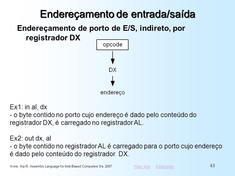 Web siteWeb site ExamplesExamples Endereçamento de entrada/saída Endereçamento de porto de E/S, indireto, por registrador DX Irvine, Kip R. Assembly L