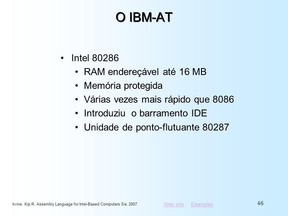 Web siteWeb site ExamplesExamples O IBM-AT Intel 80286 RAM endereçável até 16 MB Memória protegida Várias vezes mais rápido que 8086 Introduziu o barr
