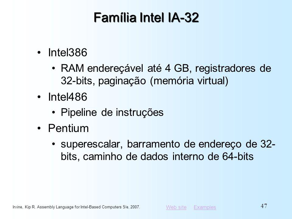 Web siteWeb site ExamplesExamples Família Intel IA-32 Intel386 RAM endereçável até 4 GB, registradores de 32-bits, paginação (memória virtual) Intel48