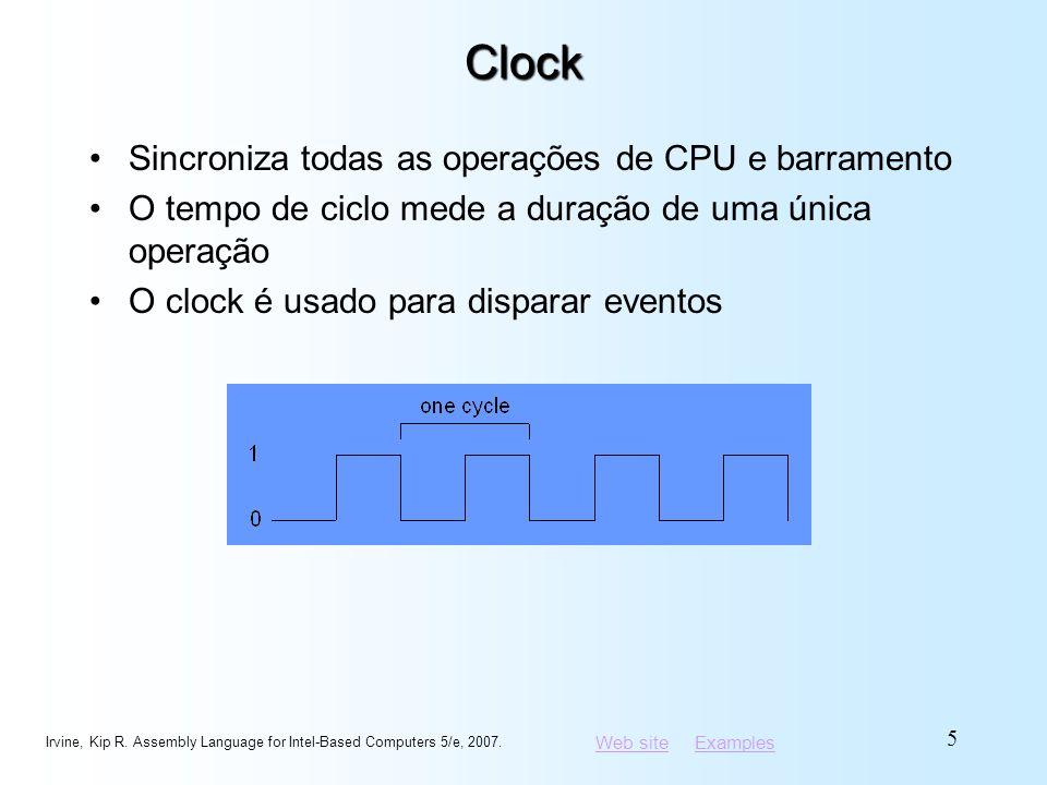 Web siteWeb site ExamplesExamplesClock Sincroniza todas as operações de CPU e barramento O tempo de ciclo mede a duração de uma única operação O clock