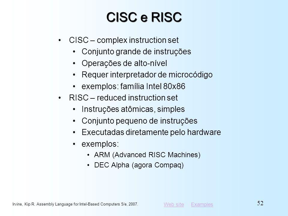 Web siteWeb site ExamplesExamples CISC e RISC CISC – complex instruction set Conjunto grande de instruções Operações de alto-nível Requer interpretado