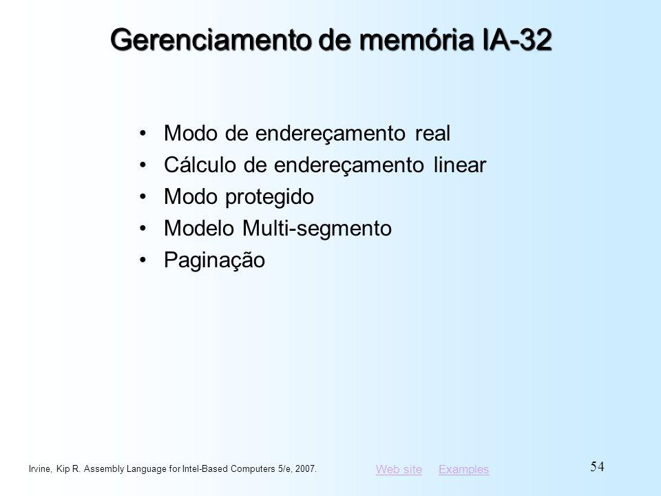 Web siteWeb site ExamplesExamples Gerenciamento de memória IA-32 Modo de endereçamento real Cálculo de endereçamento linear Modo protegido Modelo Mult