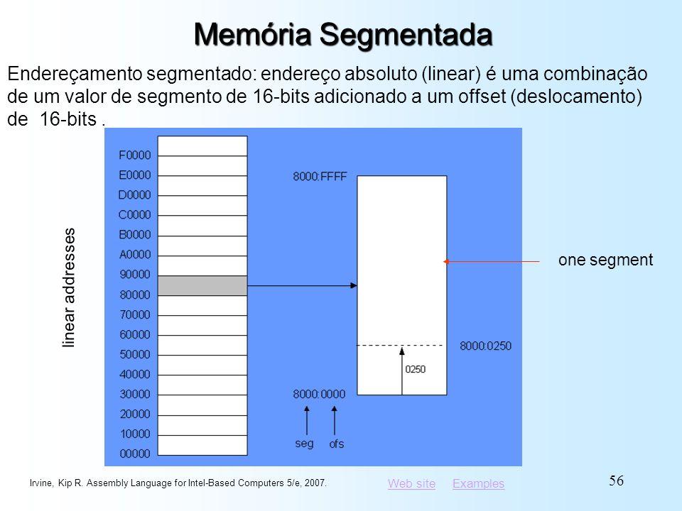 Web siteWeb site ExamplesExamples Memória Segmentada Endereçamento segmentado: endereço absoluto (linear) é uma combinação de um valor de segmento de