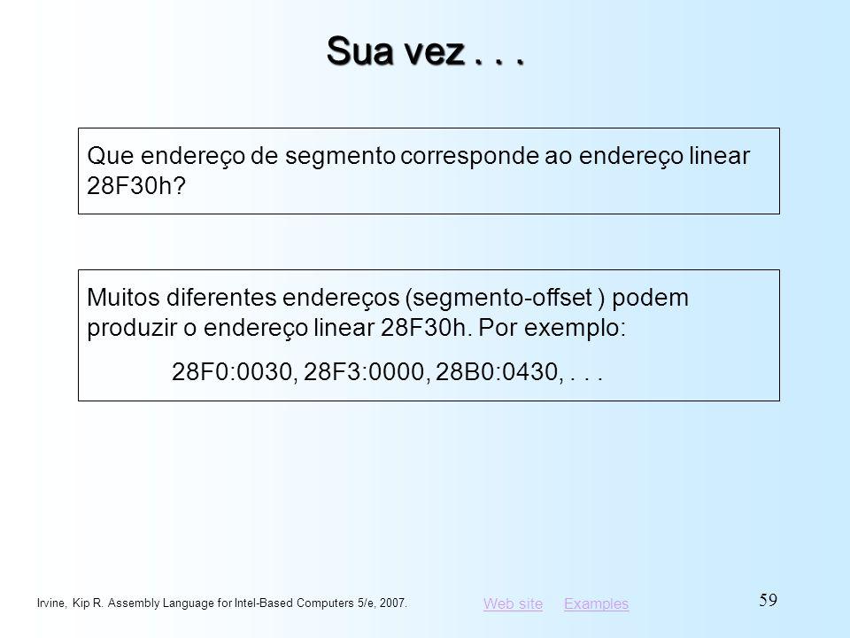 Web siteWeb site ExamplesExamples Sua vez... Irvine, Kip R. Assembly Language for Intel-Based Computers 5/e, 2007. 59 Que endereço de segmento corresp
