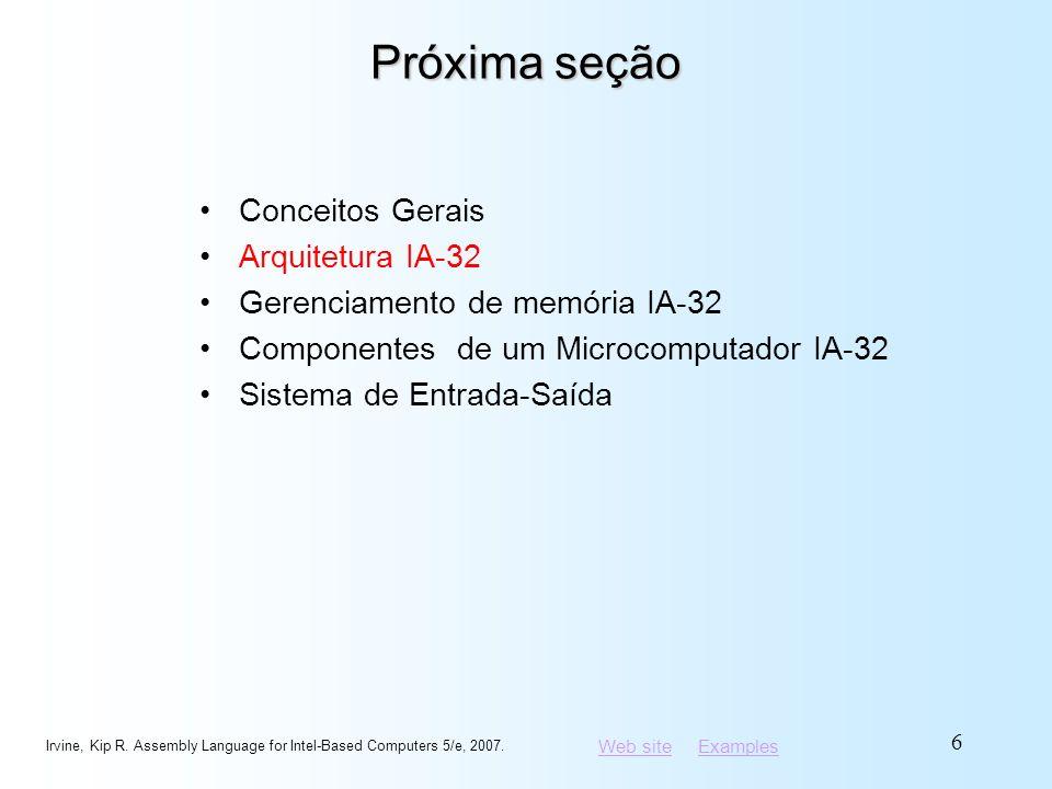 Web siteWeb site ExamplesExamples Cálculo do endereço linear Dado um endereço de segmento, multiplicá-lo por 16 (adicionar um zero hexadecimal), e adicionar o offset Exemplo: converter 08F1:0100 a um endereço linear Irvine, Kip R.