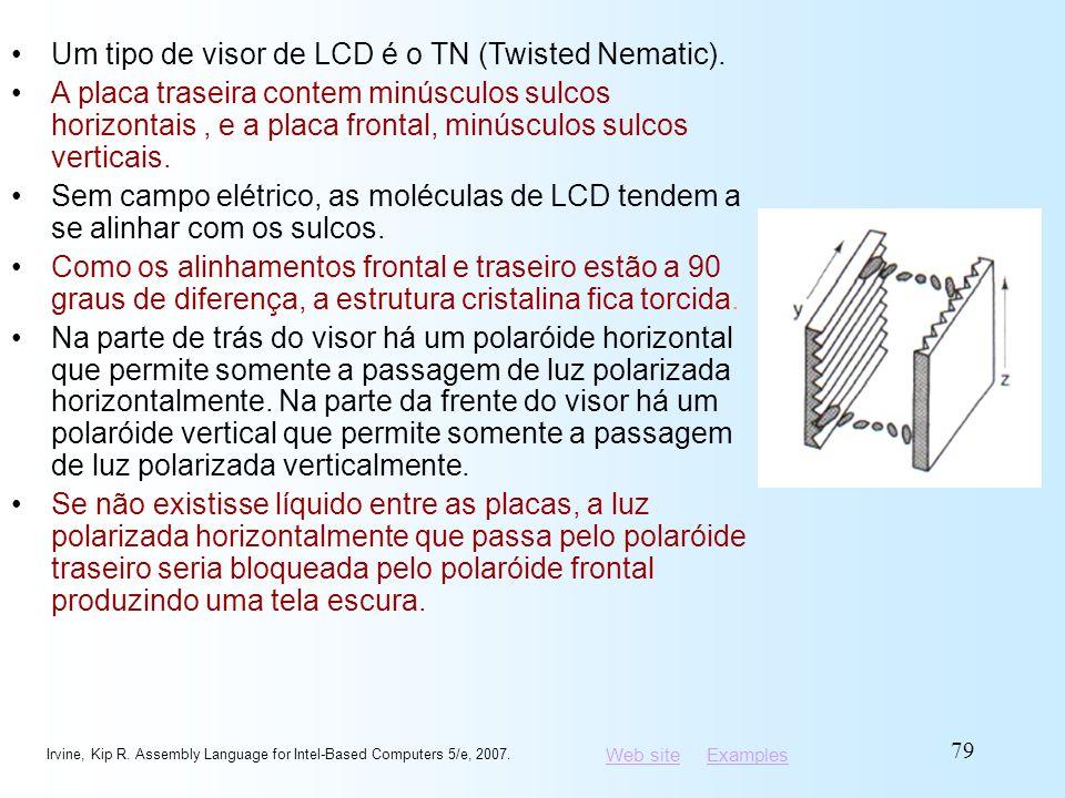 Web siteWeb site ExamplesExamples Irvine, Kip R. Assembly Language for Intel-Based Computers 5/e, 2007. 79 Um tipo de visor de LCD é o TN (Twisted Nem