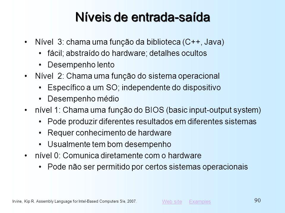 Web siteWeb site ExamplesExamples Níveis de entrada-saída Nível 3: chama uma função da biblioteca (C++, Java) fácil; abstraído do hardware; detalhes o
