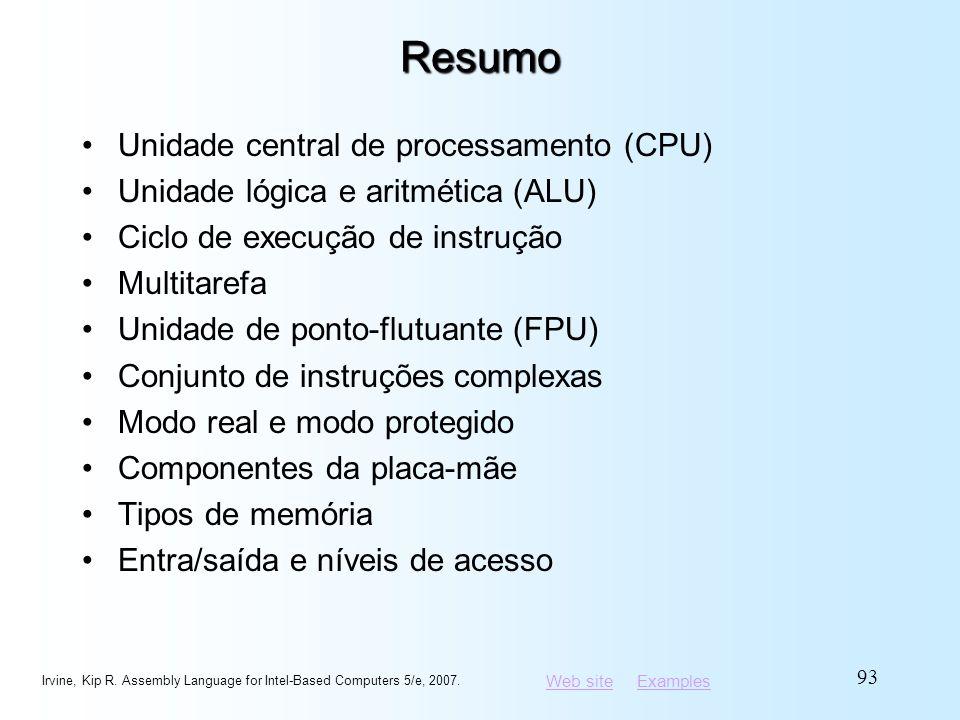 Web siteWeb site ExamplesExamplesResumo Unidade central de processamento (CPU) Unidade lógica e aritmética (ALU) Ciclo de execução de instrução Multit
